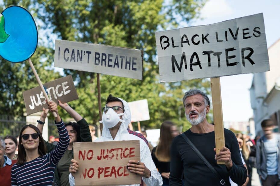 Black lives matters protesters holding signs and marching outdoors in streets